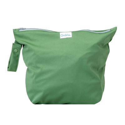 GroVia - wetbag til tur med lynlås og strop - basil