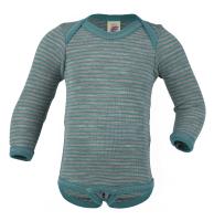 Engel langærmet body i uld / silke - isblå / grå striber