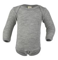 Engel langærmet body i uld / silke - grå