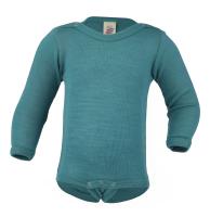 Engel langærmet body i uld / silke - isblå