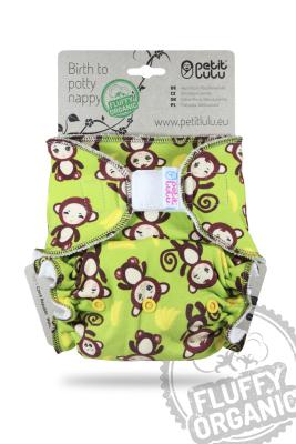 Petit Lulu - maxi night fluffy organic - velcro - monkey business