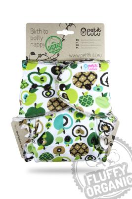 Petit Lulu - maxi night fluffy organic - trykknapper - apples (green)