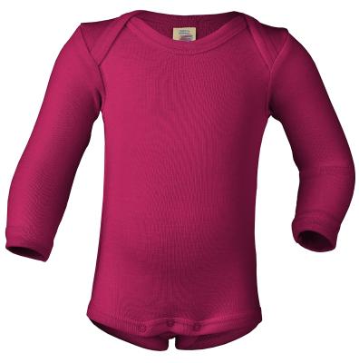 Engel langærmet body i uld / silke - raspberry