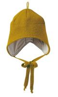 Disana hue med bindebånd - økologisk kogt uld - gold