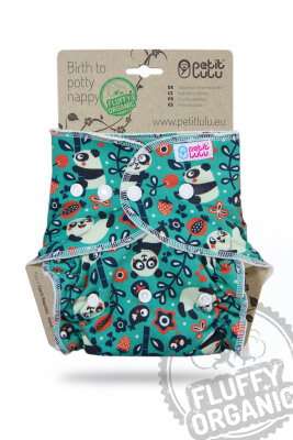 Petit Lulu - maxi night fluffy organic - trykknapper - faddy panda