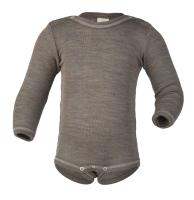 Engel langærmet body i uld / silke - valnød