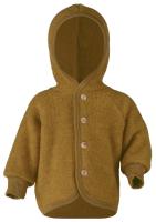 Engel uldfleece jakke med hætte - saffron melange