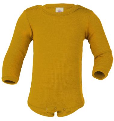 Engel langærmet body i uld / silke - saffron