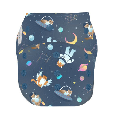 GroVia onesize AI2 blebuks med trykknapper - ALL GOOD CATS GO TO SPACE