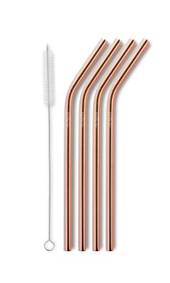 AYAIDA- sugerør i rustfri stål med knæk - drinking straw smootie - rose gold