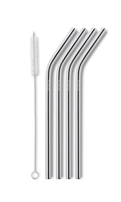 AYAIDA- sugerør i rustfri stål med knæk - drinking straw smootie - silver