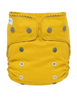 Puppi merino uld cover - onesize PLUS - trykknapper - curry