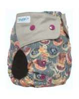Puppi merino uld cover - onesize PLUS SIO - trykknapper - grey jellyfish