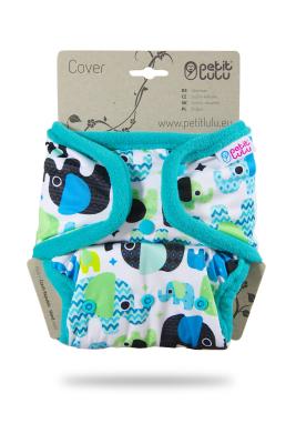 Petit Lulu onesize cover - trykknapper - baby elephant (blue)
