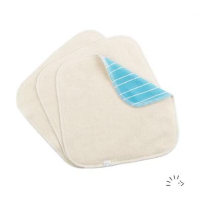 Popolini - økologiske luksus vaskeklude - 3 stk - blue