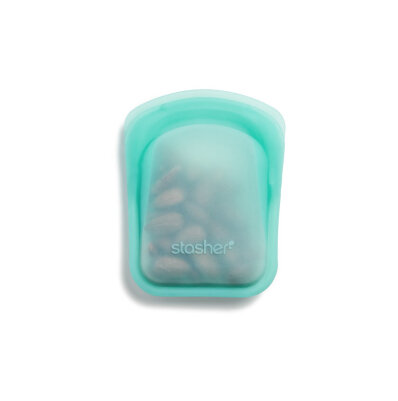 Stasher bag silikone pose - pocket 2 stk - clear & aqua