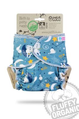 Petit Lulu - MAXI fluffy organic - trykknapper - bears on the moon