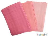 Popolini stofbleer - 3pk 70x70 - GOTS - strawberry