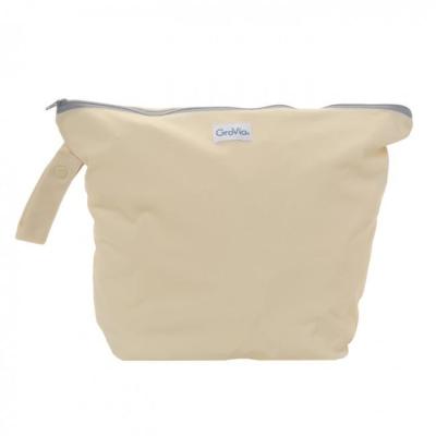 GroVia - wetbag til tur med lynlås og strop - vanilla