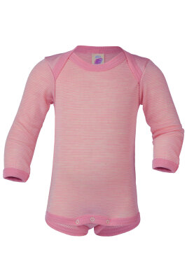 Engel langærmet body i uld / silke - rosa / natur striber