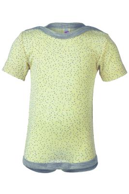 Engel kortærmet body i uld / silke - print