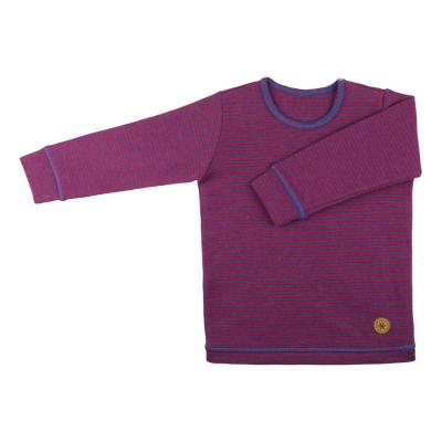 Pure Pure langærmet bluse i uld / silke - stribet